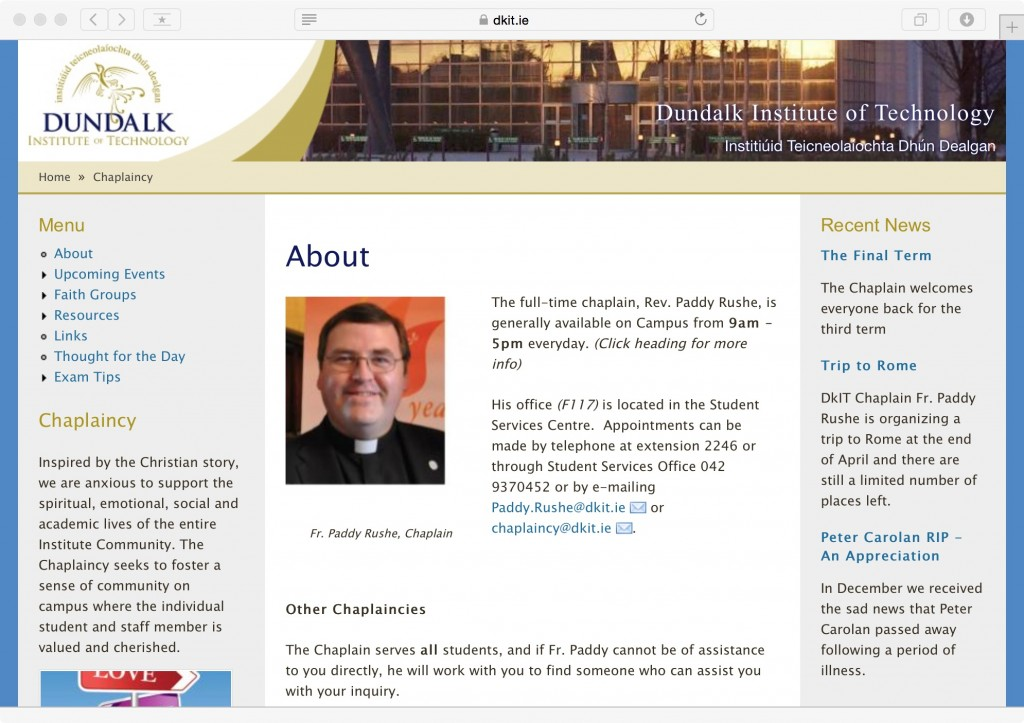Dundalk IT Chaplaincy Web Site