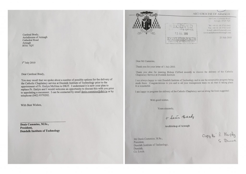 2010 Correspondence between Mr Denis Cummins (President, Dundalk IT) and Cardinal Sean Brady