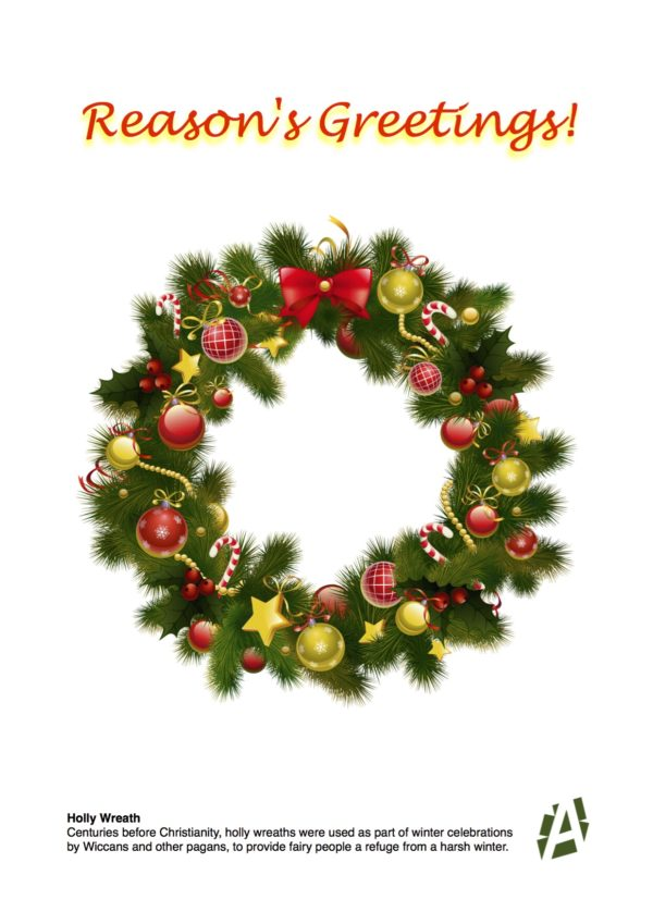 festive decorated holly wreath