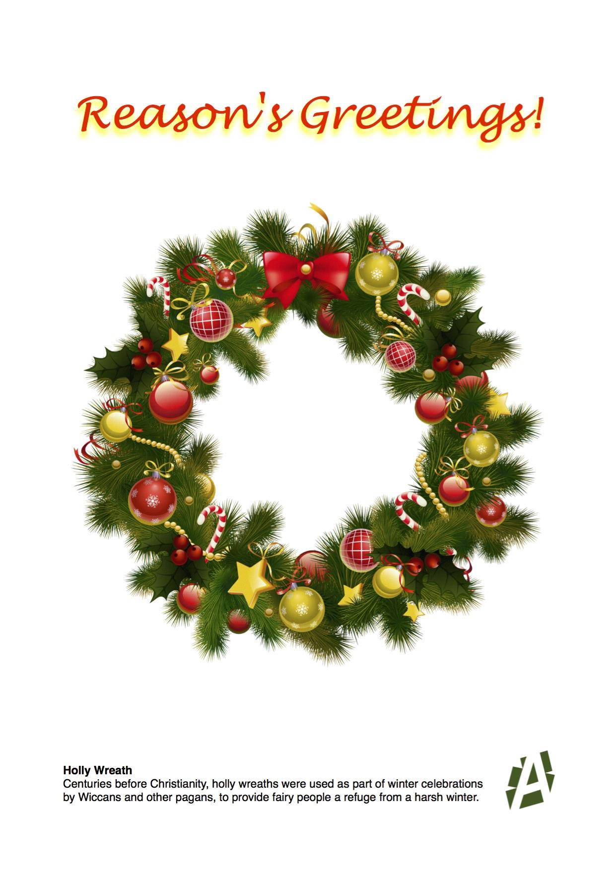 Holly Wreath Card Large Atheist Ireland