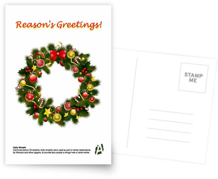 reasons greetings holly wreath card