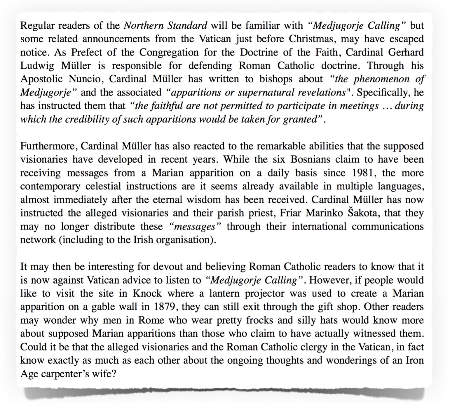 Text of Atheist Ireland Submission on Medjugorje