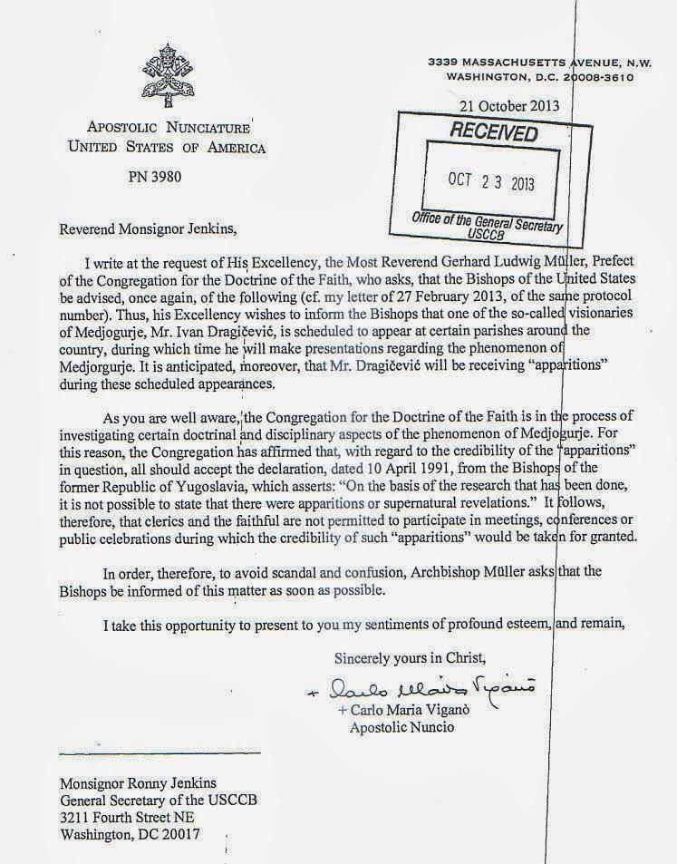 Vatican Medjugorje Letter