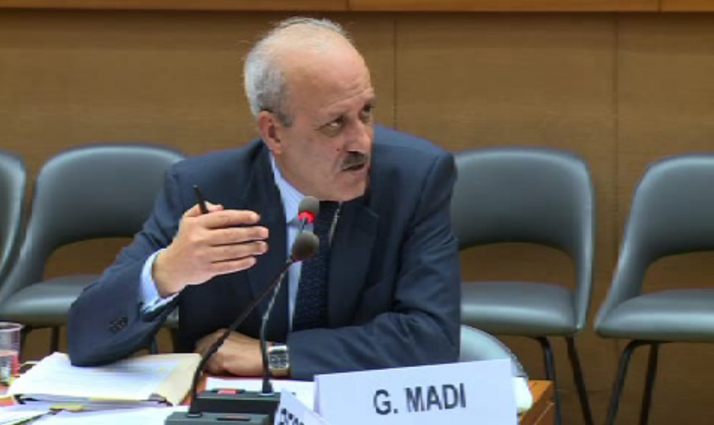 Mr Gehad Madi posing questions to the Irish delegation at the UN.
