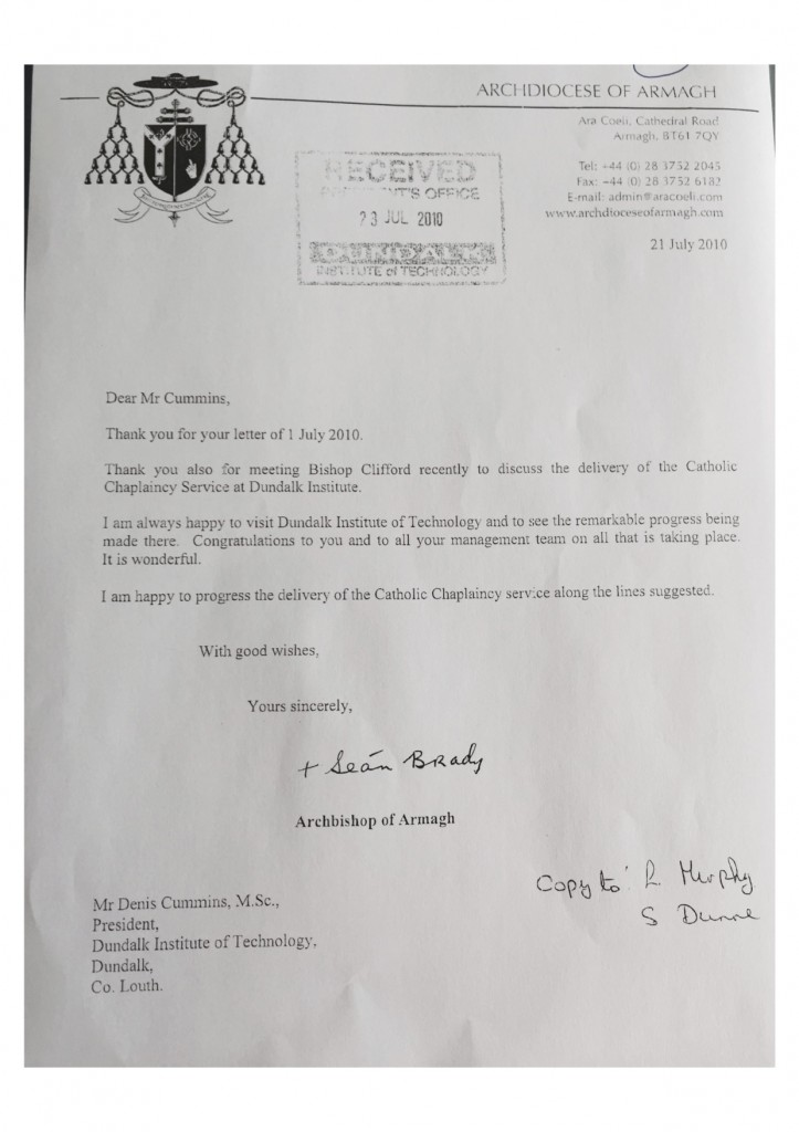 Cardinal Sean Brady Letter to President of Dundalk IT