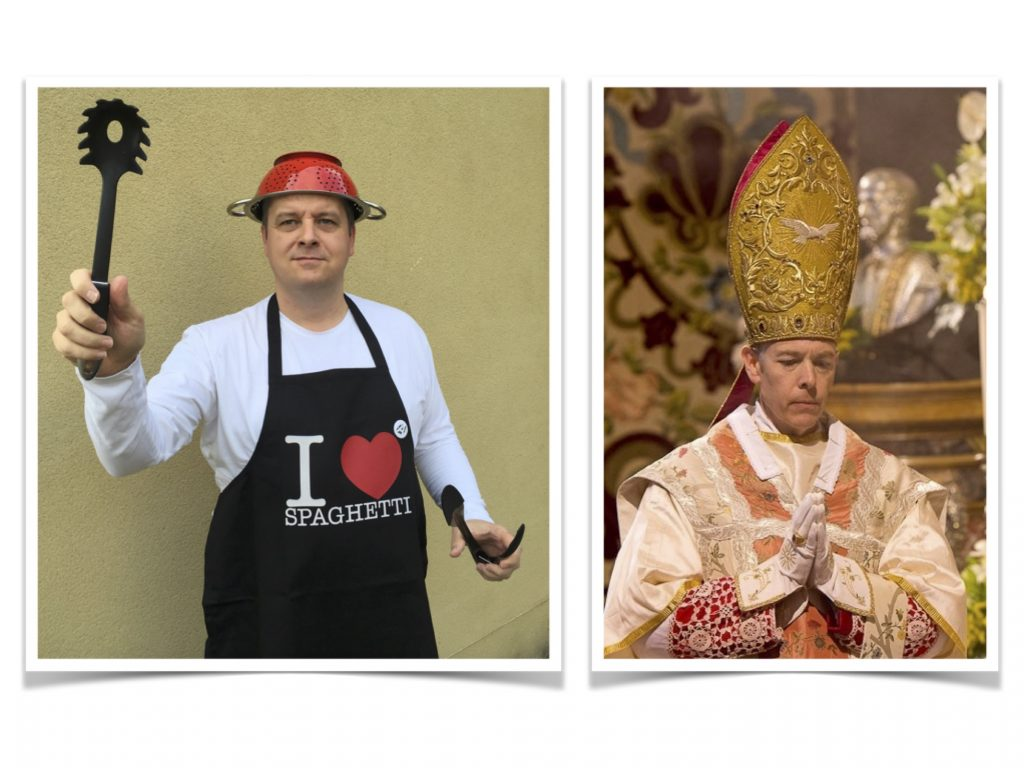 Comparative Clerical Millinery of Pastafarian and Catholic Votaries
