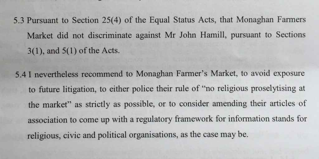 Equality Officer Ruling in relation to Monaghan Farmer's Market