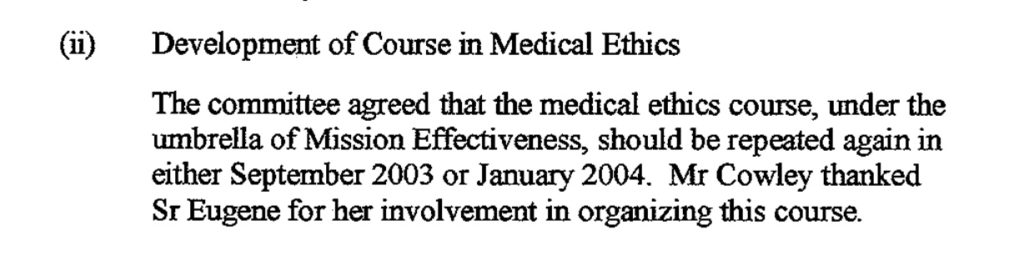 Minutes of Mater Hospital Ethics Committee, 22nd May 2003