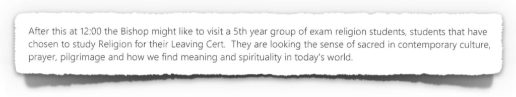 2015-10-15 Email from ETB school to Catholic Diocesan Advisor