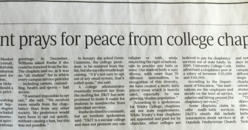 Atheist Student Prays for Peace from College Chaplains Email