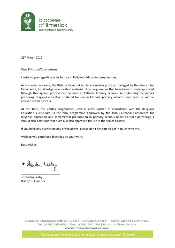 Letter from Bishop Leahy to Catholic Schools