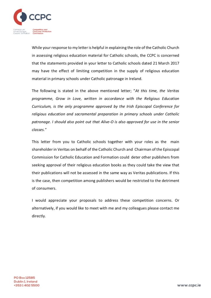 Page 2 of Letter from CCPC during October 2017