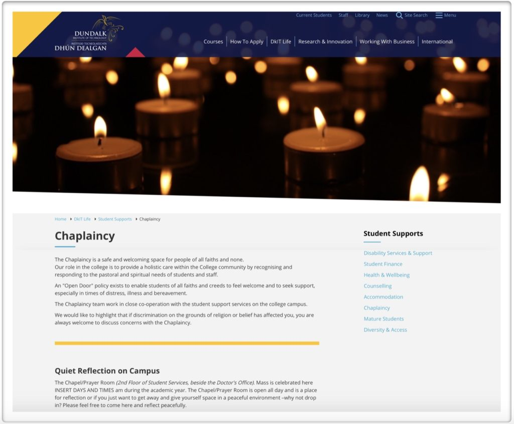 Previous Dundalk IT Chaplaincy Web Site