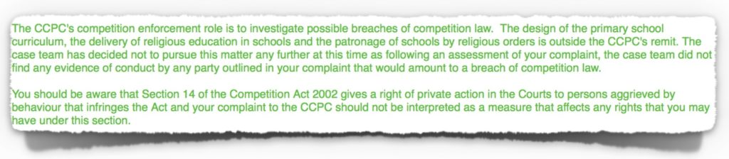 Email Correspondence from CCPC on 14th July 2017