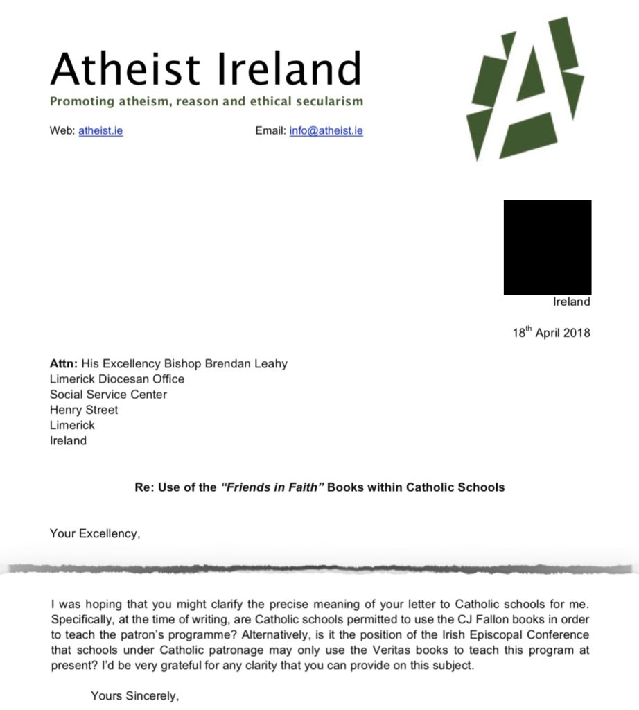 Letter from Atheist Ireland of 18th April 2018