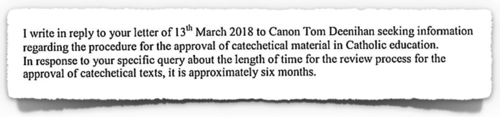 Letter from Council for Catechetics to CCPC on 21st March 2018
