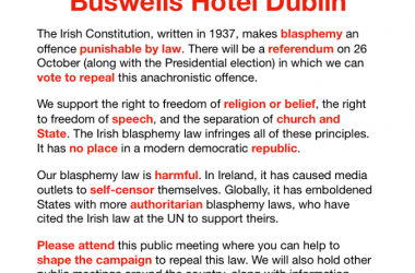 Secular Sunday #350 – Public meeting on blasphemy campaign next Saturday