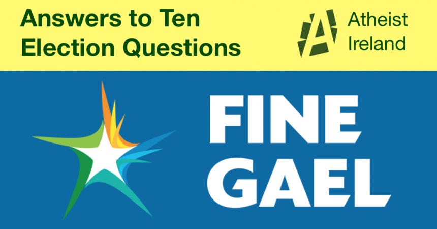 Fine Gael responses to General Election questions from Atheist Ireland